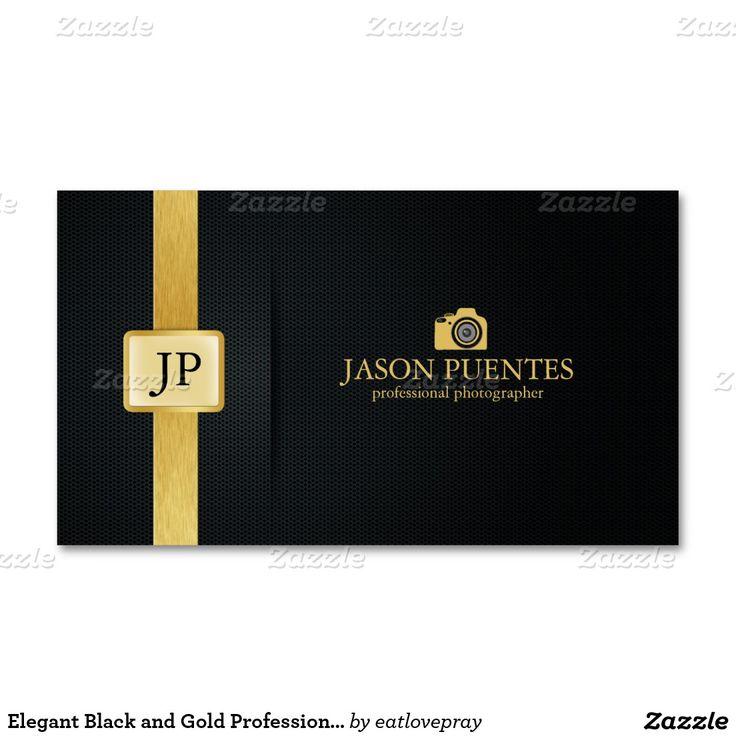 Eleganter Schwarz-und Goldberuflicher Fotograf Visitenkarten
