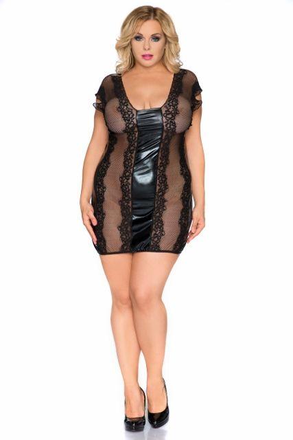 Zmysłowa koszulka wet look połączony z koronką Z/5005 Erotic chemise made of wet look combined with lace Z/5005