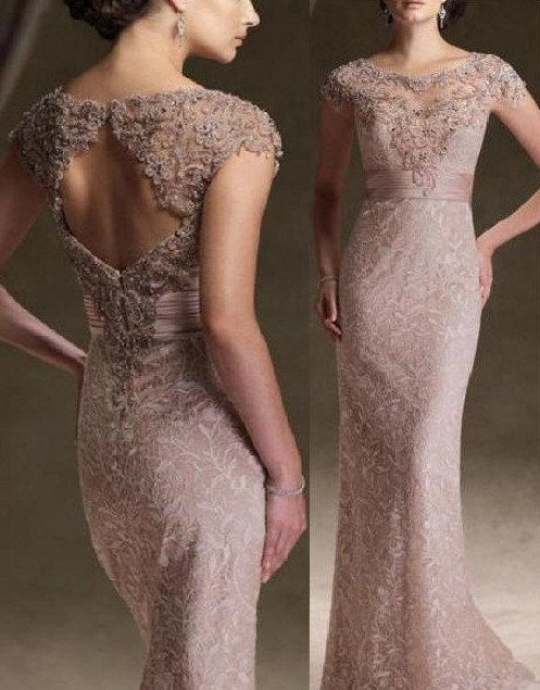 2013 New Sexy Lace Mother Of The Bride Dresses Short Sleeve Back Bead Prom Party Dress floor length formal evening dress plus size on Etsy, $154.00