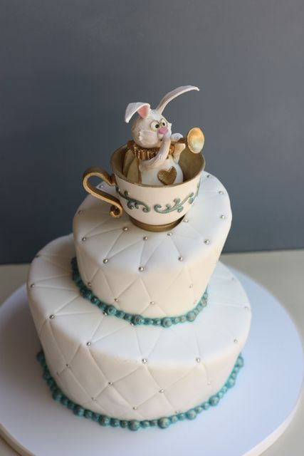 Alice in Wonderland Rabbit in Tea Cup Cake Topper