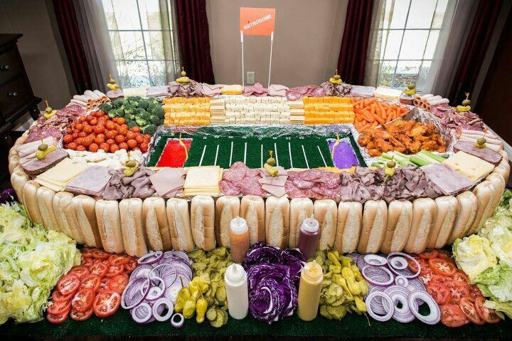 Great Superbowl party idea! This would only work for a huge party!!!