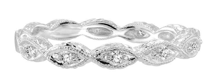 White Gold Art Deco Diamond Band .10ct tw