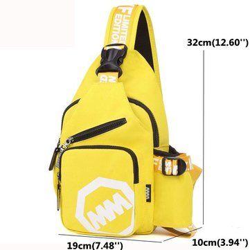 Women Men Nylon Light Chest Bags Casual Shoulder Bags Outdoor Sports Crossbody B - US$24.81