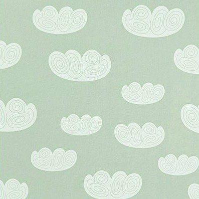 Ferm Living Behang Cloud wolken mintgroen papier 10.05mtrx53cm