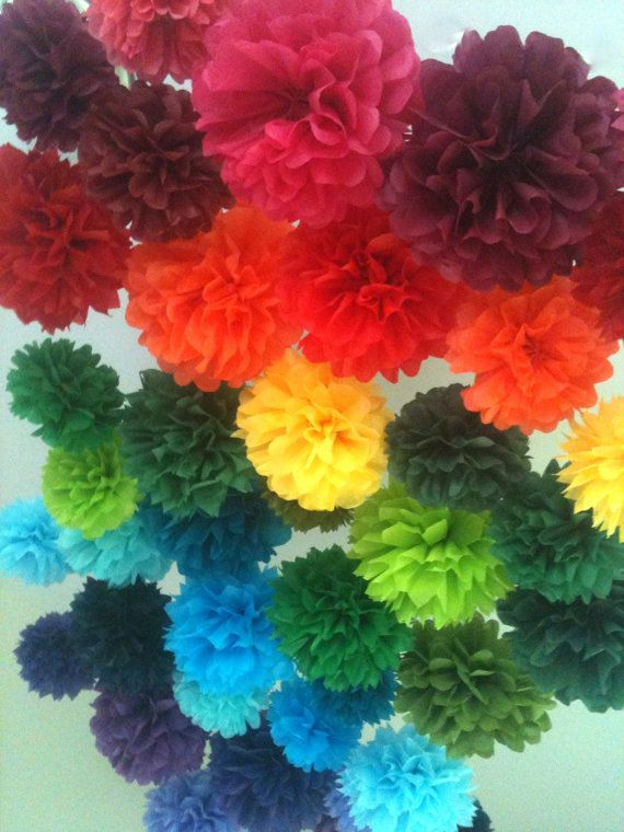 7 Tissue Paper Pom Poms Choose Your Colors Birthday/ by HopeDecor
