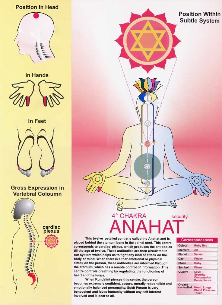 Usually depicted as green this is the heart chakra.  The 4th chakra.