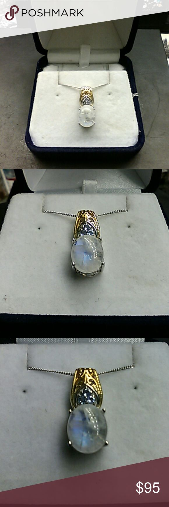 "6.75cts Genuine Moonstone & Tanzainte 14k/925 Retail Price:$359 Flash Sale:$85 Absolutely gorgeous Moonstone & Tanzainte pendant. 6.75 carats total weight. 14k gold & Platinum over solid 925 sterling silver artisan pendant with 20"" sterling chain. estate 925 Jewelry Necklaces"