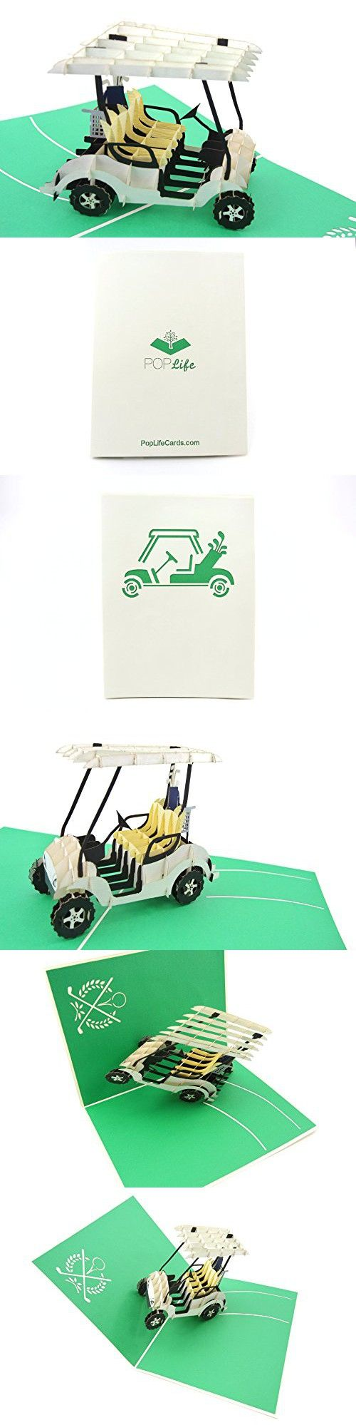 PopLife Golf Cart 3D Pop Up Card for All Occasions - Greeting Card for Golfers - Folds Flat, Perfect for Mailing - Birthday, Retirement, Over-The-Hill, Fathers Day - Best Dads Golfing Gift