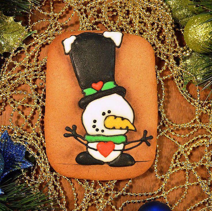 """Купить Пряники новогодние. Пряник новогодний """"Новогодний снеговик"""" - пряники новогодние, пряники новый год"""
