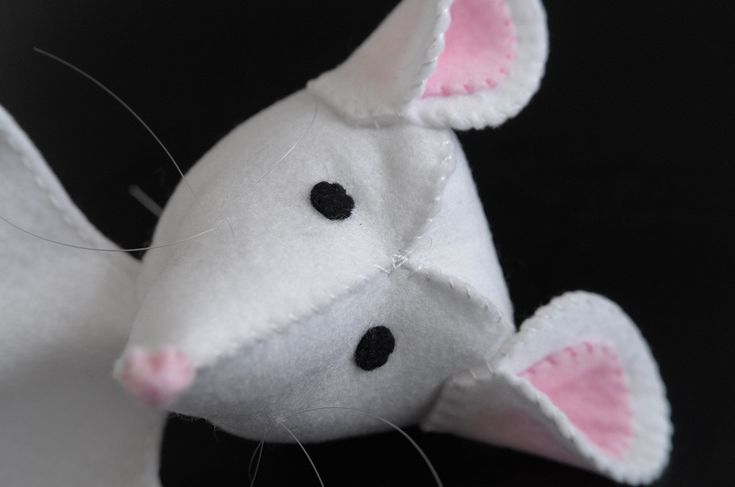 White mouse - toy, hand puppet, puppetry, pretend play, mice, mother mouse - by KinkinPuppets on Etsy