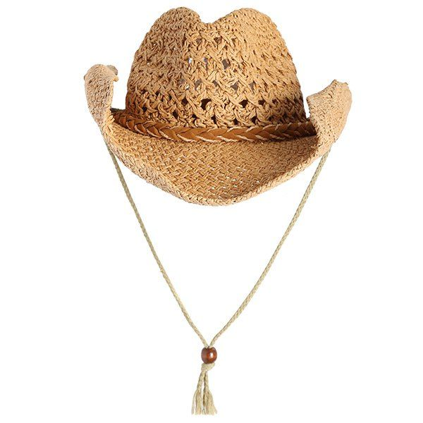 Wholesale Curled Brim Cowboy Woven Straw Hat Yellow Online. Cheap Cowboy Shirt And Strawberry Dress on Rosewholesale.com