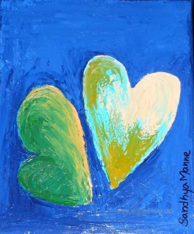 """""""You and Me"""" is an artwork of  two Heart positioned romantically... The art is a part of the """"Hearts"""" series, done on Canvas and has textures hearts.   """"You and Me"""" has two textured hearts on a dark blue background."""