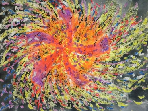 Fireworks colored with oil pastel then painted with watercolor. Step by step instructions. USED
