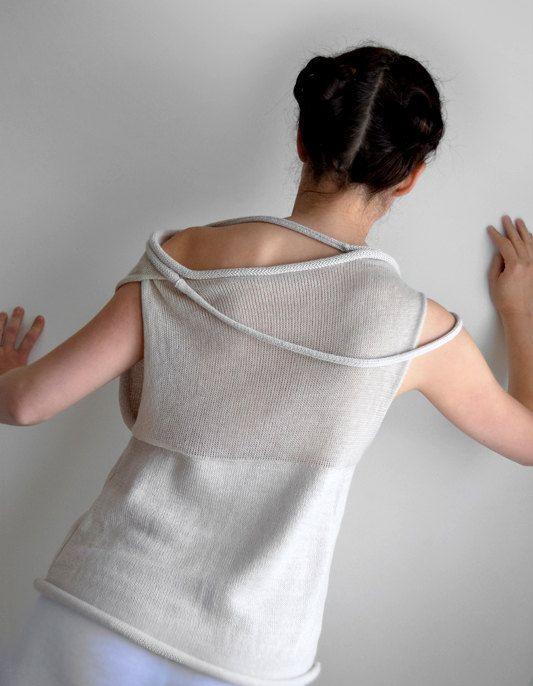 beige Women top Light beige transparent sweater top by okapiknits