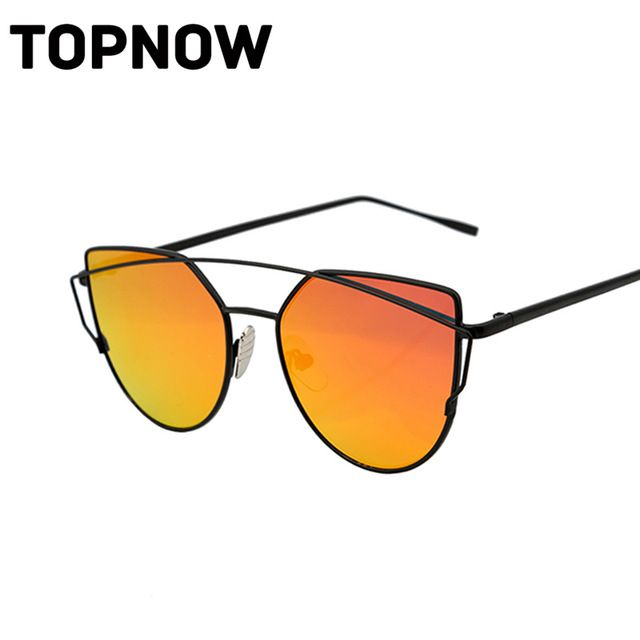 Fashion Cat Eye Sunglasses Women Classic Brand Design Vintage Coating Mirror Flat Panel Lens Sun Glasses For Women Gafas Oculos