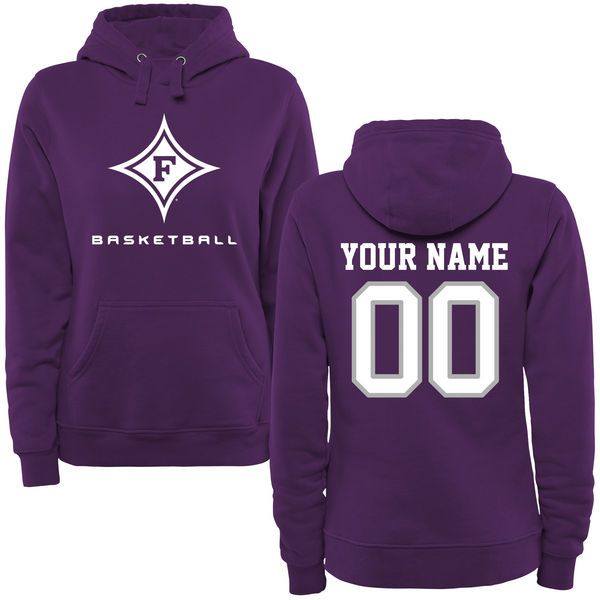 Furman Paladins Women's Personalized Basketball Pullover Hoodie - Purple - $69.99