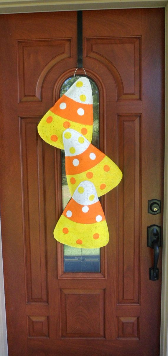 Items similar to Fall Candy Corn Burlap Door hanger on Etsy