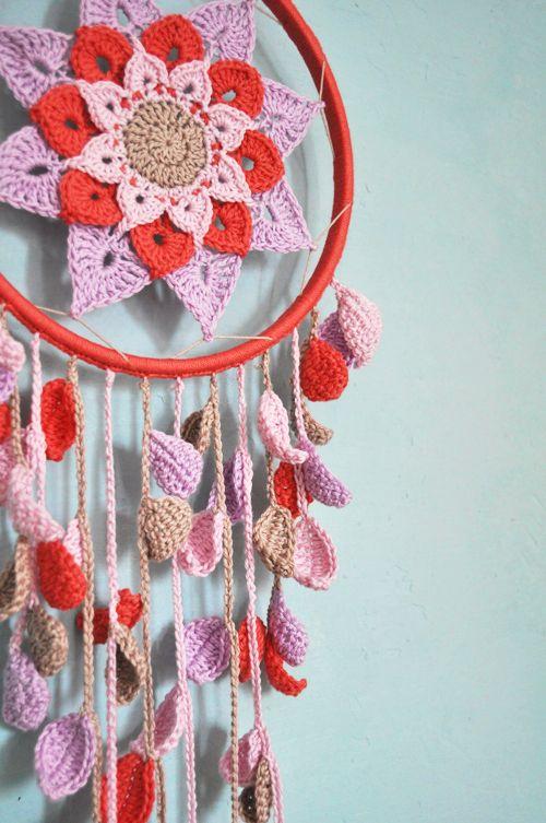 Crochet dreamcatcher with flower pattern