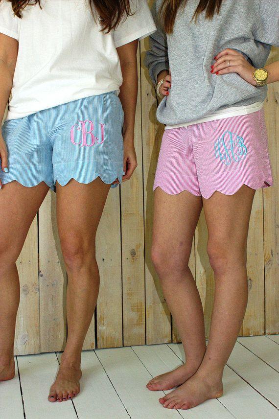 Monogrammed Shorts Seersucker Scalloped Lounge Shorts Womens
