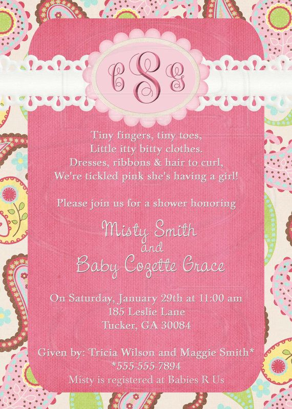 Pink Paisley Baby Shower or Wedding Shower  by graciegirldesigns77, $12.00