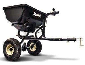 Agri-Fab 45-0315 85-Pound Tow Broadcast Spreader by Agri-Fab. $69.99. 1-year limited warranty. Provides a spread width of 8-to-10-feet; 85-pound capacity; covers approximately 14,200-square-feet. Polyethylene hopper that resists rust, corrosion, and weather damage for long-lasting use. Tow broadcast spreader efficiently cultivates your lawn with wide distribution of fertilizer. Towed on 2 10-by-4 pneumatic tires with 1/2-inch diameter tubular steel axles. Amaz...