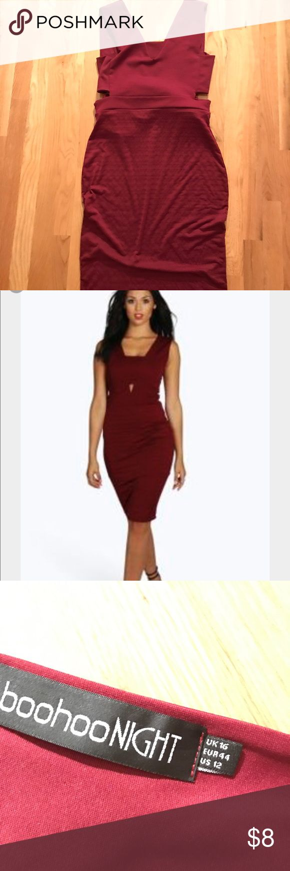 Boohoo Veronica Cut Out Contrast Midi size 16 Boohoo Veronica Cut Out Contrast Midi Burgundy   Color: Burgundy  Size: 16  Great for a night out Very stretchy  Fits curves nicely Worn once  Fits more like a size 12/14 Boohoo Dresses Midi