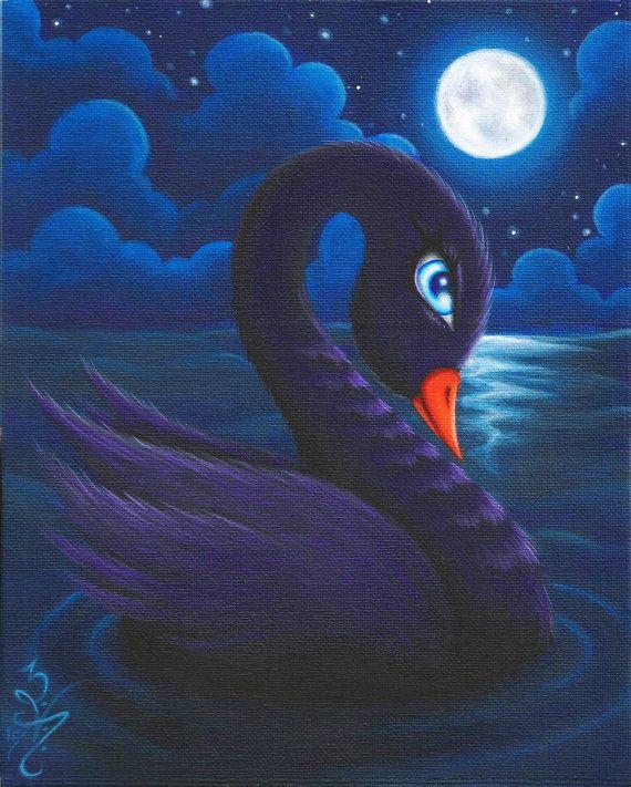 Reproduction animale lunatique Pop surréalisme fantastique impression de 8 x 10 Lowbrow Big Eye Black Swan oiseau nuit ciel lune océan mer par Natalie VonRaven