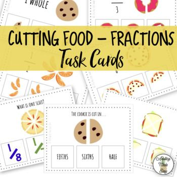 48 Cutting Food - Fractions Task Cards. Age appropriate life skills task bin activity for secondary special education students! Life skills and vocational skills for cooking. Ideas for use: Print, laminate, cut for long term use. Use clothes pins or