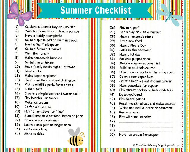 East Coast Mommy: Summer Checklist {with free printable}... 2013 edition