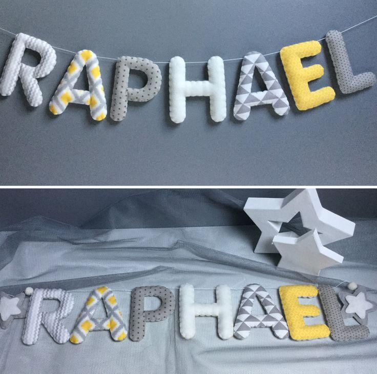 Guirlande prénom décorative RAPHAEL en feutrine et tissus assortis