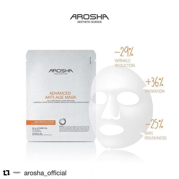 Our Arosha Anti-Age Matrixtech biocellulose mask was specificallydeveloped to reverse ageing process renew skin resilience & firmness to boost production of collagen and elastin. Thanks to its active ingredients: Complex E Coffee extract Baobab Ibiskus & Epidermal Growth Factor you will notice up to -29 % wrinkle reduction -25% skin roughness and 36% hydration. For more information visit our website: http://ift.tt/2ljgNSf.  #arosha#musthave #beautylink #musthaves #antiageing…