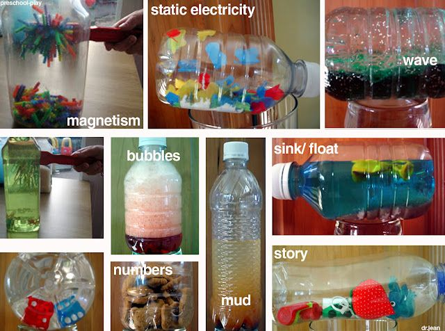 Discovery Bottles - Magnetism, static electricity, wave, sink/float, story, mud, bubbles, numbers, etc!!!!