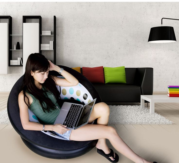 Small Sectional Sofa Good Relax at home or in your dorm with Inflatable Air Chair
