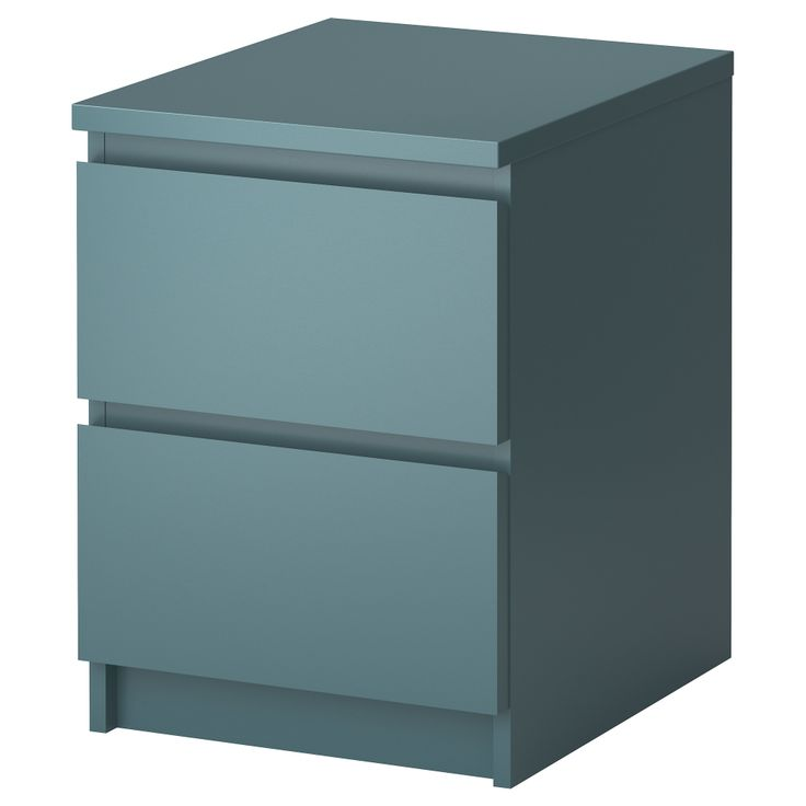 MALM Chest of 2 drawers - grey-turquoise - IKEA