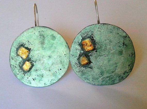Ηandmade, statement green mint alpaca circle earrings with brass, oxidised earrings, patina earrings