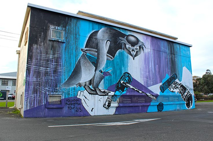 We finished second mural of New Zealand's Worth Loving, pollution awareness tour. 'Poorly Penguin' resides on the substation that shares a carpark with the Anderson's Bay Countdown, South Dunedin.  I am dedicating this mural to my amazing dutch grandad 'Pop' who I love. He was a painter once upon a time and loved following my work.