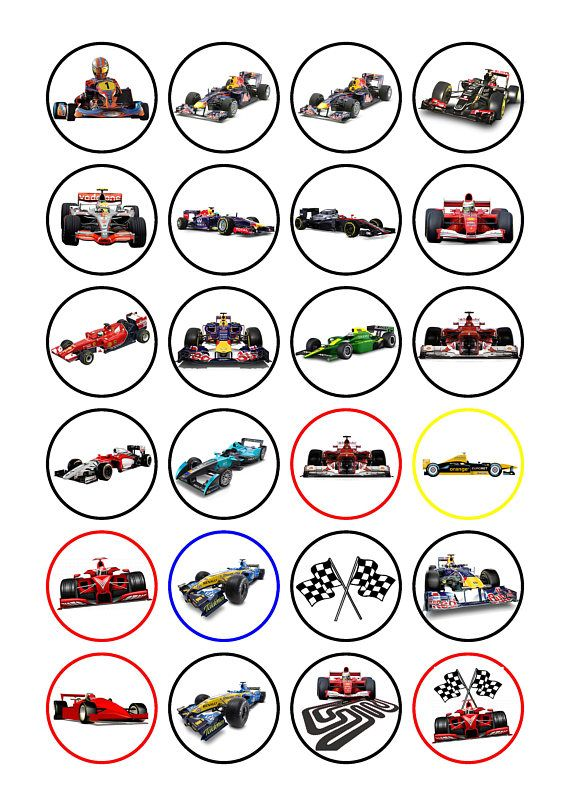 24 X F1 Racing Cars Edible Cake Decorations Cupcake Toppers