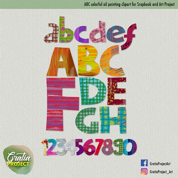 ABC Oil Painting Colorful Font Clipart for Scrapbooks