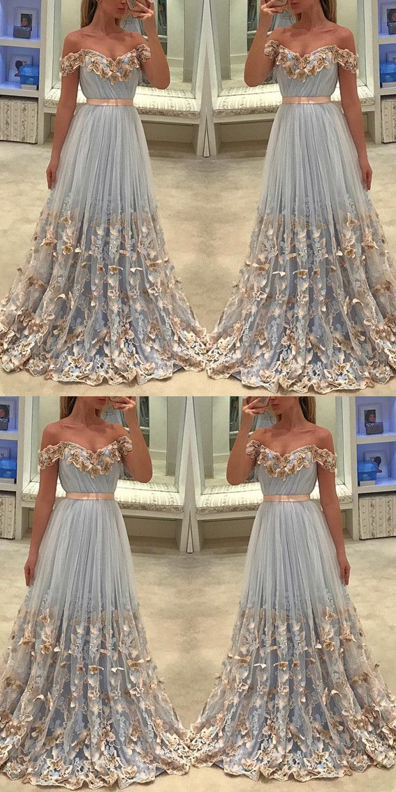 296af50252b7 Elegant Light Blue Tulle Off The Shoulder Evening Gowns Butterfly Lace  Embroidery Prom Dresses