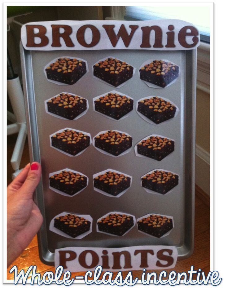 Great visual whole-class incentive...you can adjust the size of the brownies to make incentives easier or more challenging to earn. You don't have to reward them with actual brownies--let the class suggest incentives they're motivated to earn!