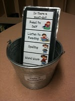 Daily 5 Bookmarks: students pick a bookmark; they begin by completing any must-do's and then go to the Daily 5 station that is listed first on their bookmark; once they complete that station, they can move on to the next station on their bookmark; when all five stations are complete, they are able to turn in their bookmark and get a new one