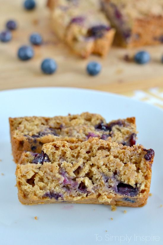 This blueberry oatmeal bread recipe is simple, healthy goodness. So moist and loaded with blueberries, it's a wonderful breakfast or snack choice.