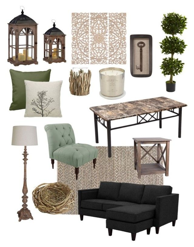 """Natural Living Room"" by kay-hair on Polyvore featuring interior, interiors, interior design, home, home decor, interior decorating, Atticus, Threshold, Adeco and Nearly Natural"