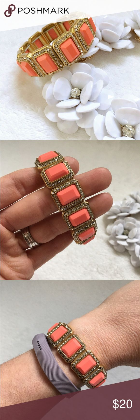 j crew bracelet J Crew Factory gorgeous stretch bracelet. Coral colored stones surrounded by clear rhinestones set in faux gold. Like new condition! J. Crew Jewelry Bracelets