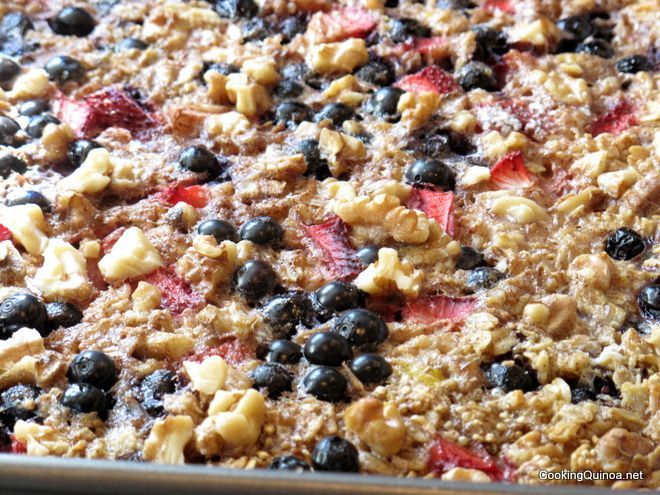 Baked Quinoa and Oatmeal.  My son couldn't get enough!  Everyone liked this dish.  I slightly increased the bananas and berries and will probably add a few apples next time.  Very good!!