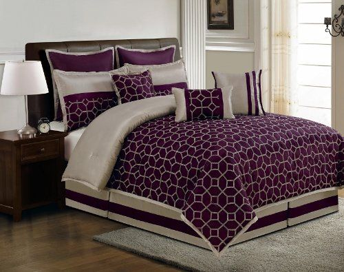 13 piece king diamante plum and taupe bed in a bag w 600tc for Purple and taupe bedroom