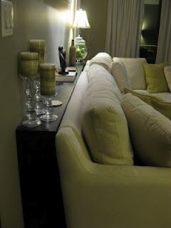Great idea for a couch against a wall