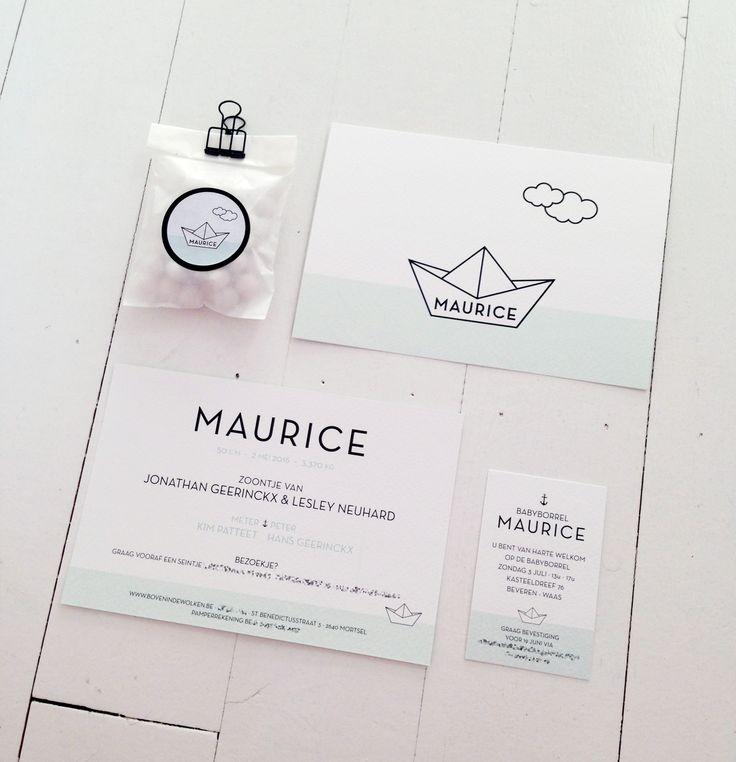 Geboortekaartje Maurice  Papieren bootje // wolk // stoer // eenvoud /: strak // bootje varen // munt groen // zwart // mosstudio