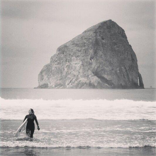 Surfer girl. Haystack Rock,  Pacific City Oregon. #surfers #surfing #surfergirl #surfergirls #haystackrock #PacificCity #Oregon #travel #travelphotography #nikon #afar #natgeo #lonleyplanet #traveler_magazine #photooftheday #worldtraveler #traveler_stories #traveler_magazine #wanderlust