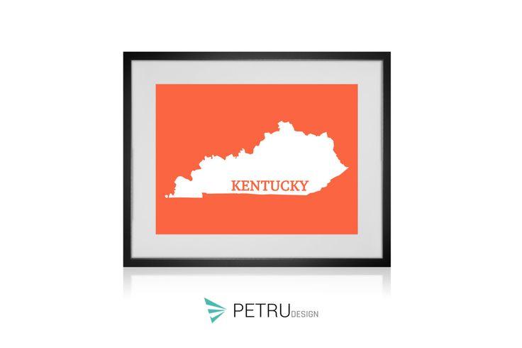 Kentucky print - Kentucky art - Kentucky poster - Kentucky wall art - Kentucky printable poster - Kentucky map - Kentucky Sunset by Exit8Creatives on Etsy